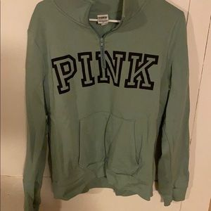 quarter zip pink sweatshirt